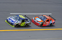 Apr 25, 2008; Talladega, AL, USA; NASCAR Sprint Cup Series driver Jimmie Johnson (48) leads Jeff Burton during practice for the Aarons 499 at Talladega Superspeedway. Mandatory Credit: Mark J. Rebilas-US PRESSWIRE