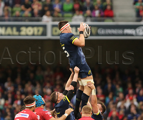 May 27th 2017, Aviva Stadium, Dublin, Ireland; Guinness Pro12 Rugby Final, Munster versus Scarlets;  Billy Holland, Munster Rugby in lineout action