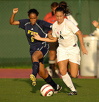 Florida International University Golden Panthers Women's Soccer versus the University of Miami Hurricanes in Coral Gables, Florida on Wednesday, September 6, 2006...Sophomore defender Kia Rigsby (5)