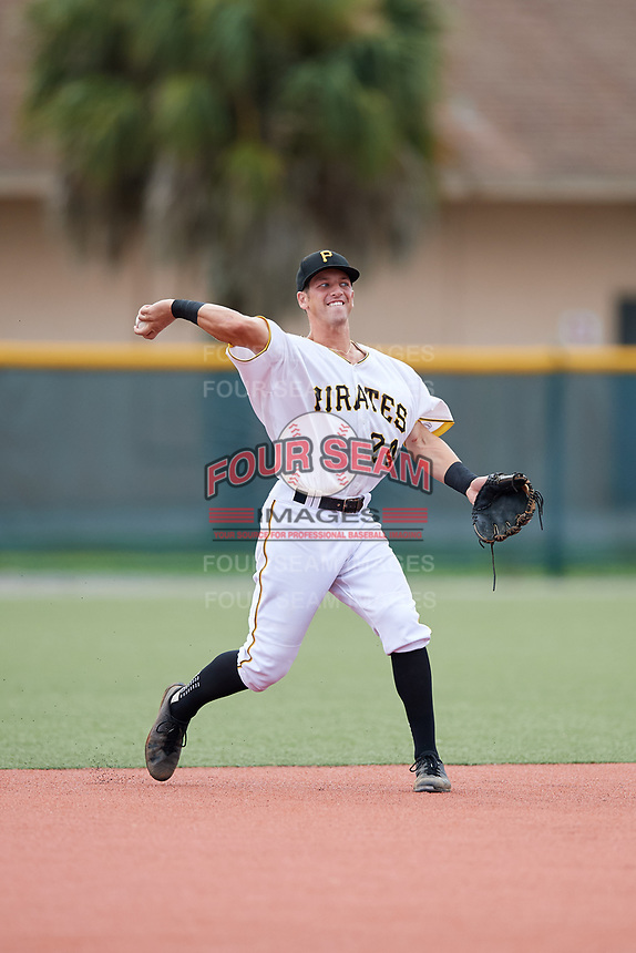 GCL Pirates shortstop Kyle Mottice (24) throws to first base during the first game of a doubleheader against the GCL Yankees East on July 31, 2018 at Pirate City Complex in Bradenton, Florida.  GCL Yankees East defeated GCL Pirates 2-0.  (Mike Janes/Four Seam Images)