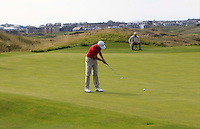 Michael Hearne (WAL) on the 14th green during the Afternoon Singles between Ireland and Wales at the Home Internationals at Royal Portrush Golf Club on Thursday 13th August 2015.<br /> Picture:  Thos Caffrey / www.golffile.ie