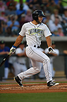 Designated hitter Tim Tebow (15) of the Columbia Fireflies bats in a game against the Lexington Legends on Saturday, April 22, 2017, at Spirit Communications Park in Columbia, South Carolina. Lexington won, 4-0. (Tom Priddy/Four Seam Images)