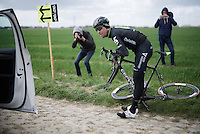Bernie Eisel (AUT/Dimension Data) wants to test different wheels by going over the worst cobbles of them all twice at sector 4: Carrefour de l&rsquo;Arbre (2.1 km)<br /> <br /> recon of the 114th Paris - Roubaix 2016