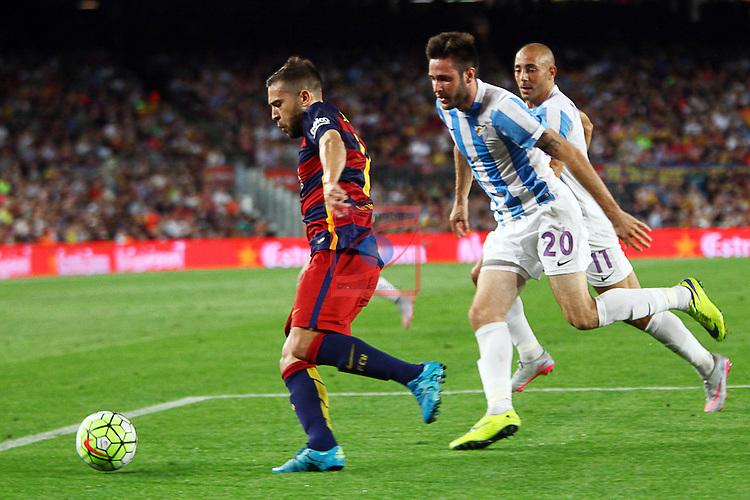 League BBVA 2015/2016. Game: 2.<br /> FC Barcelona vs Malaga CF: 1-0.<br /> Duje Cop vs Jordi Alba.