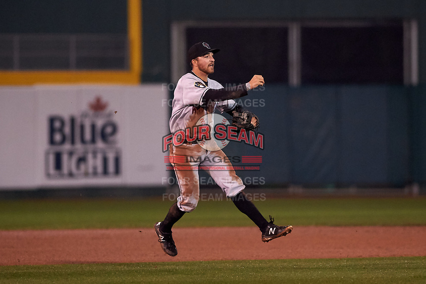 Wisconsin Timber Rattlers third baseman Connor McVey (6) throws to first base during a Midwest League game against the Lansing Lugnuts at Cooley Law School Stadium on May 2, 2019 in Lansing, Michigan. Lansing defeated Wisconsin 10-4. (Zachary Lucy/Four Seam Images)