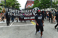 Washington, DC - August 12, 2018: Member of the Antifa movement march near the White House in Washington, D.C. to oppose police and the Unite the Right rally in Lafayette Park August 12, 2018.  (Photo by Don Baxter/Media Images International)