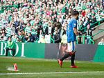 29.04.18 Celtic v Rangers: A drinks cup lands near Daniel Candeias as he prepares to take a corner kick