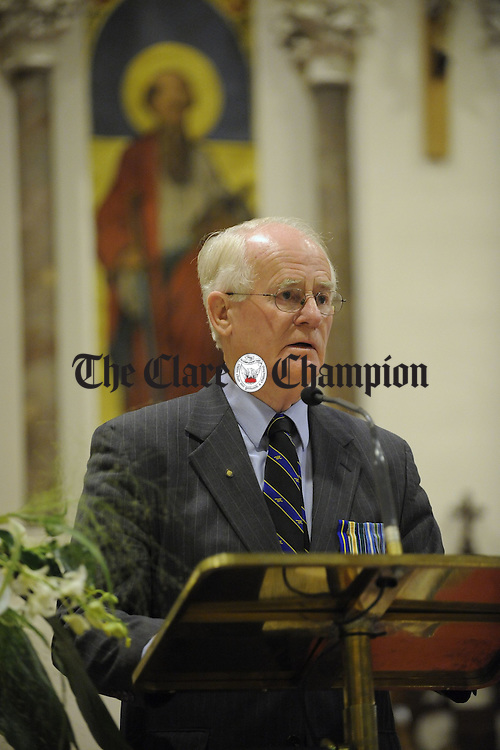 Col Michael Shannon, a native of Kilrush, of the Irish Peace Institute and founding member of the Island of Ireland Peace Park at Flanders gives the keynote address at the  Remembrance Day Liturgy in Ennis Cathedral. Photograph by John Kelly.