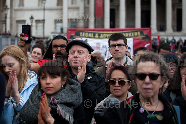 London, 01/05/2017. Thousands of people marched in central London to celebrate the International Workers' Day. The rally started in Clerkenwell Green and ended in Trafalgar Square where numerous speakers gave speeches in defence of worker's rights, in protest against Theresa May Conservative Government spending cuts and policies, and in support and solidarity with the other demonstrations across the globe. Main speaker of the event was John McDonnell MP, Labour Member of Parliament for Hayes and Harlington and Shadow Chancellor.