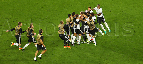 Germany's national soccer team celebrates after the UEFA EURO 2016 quarter final soccer match between Germany and Italy at the Stade de Bordeaux in Bordeaux, France, 02 July 2016.