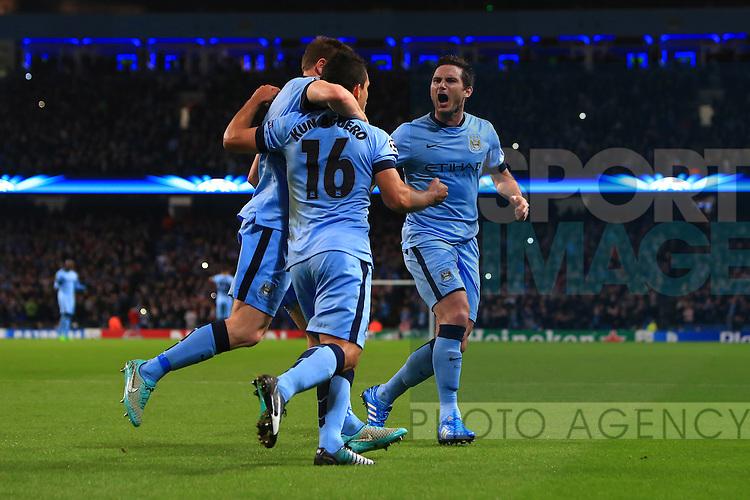 Sergio Aguero of Manchester City celebrates his opening goal - Manchester City vs. Bayern Munich - UEFA Champion's League - Etihad Stadium - Manchester - 25/11/2014 Pic Philip Oldham/Sportimage