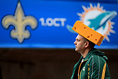 1st October 2017, Wembley Stadium, London, England; NFL International Series, Game Two; Miami Dolphins versus New Orleans Saints; A Green Bay Packer fan attends the Miami Dolphins versus New Orleans Saints