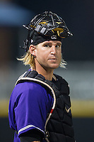 Louisville Bats catcher Bryan Anderson (22) during the game against the Charlotte Knights at BB&T Ballpark on June 26, 2014 in Charlotte, North Carolina.  The Bats defeated the Knights 6-4.  (Brian Westerholt/Four Seam Images)
