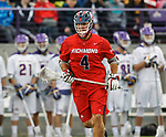 Richmond's Eric Hael (#4) looks for an opening as UAlbany Men's Lacrosse defeats Richmond 18-9 on May 12 at Casey Stadium in the NCAA tournament first round.