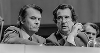 David Owen, MP, left, and William Rodgers, MP, at 1982 SDP Conference, Cardiff, Wales, UK, October, 1982, 198210000190<br /><br />Copyright Image from Victor Patterson, 54 Dorchester Park, <br />Belfast, UK, BT9 6RJ<br /><br />t1: +44 28 9066 1296 (from Rep of Ireland 048 9066 1296)<br />t2: +44 28 9002 2446 (from Rep of Ireland 048 9002 2446)<br />m: +44 7802 353836<br /><br />victorpatterson@me.com<br />www.victorpatterson.com<br /><br />Please see my Terms and Conditions of Use at VICTORPATTERSON.COM. It is IMPORTANT that you familiarise yourself with them.<br /><br />Images used on the Internet must be visibly watermarked i.e. &copy;VICTORPATTERSON.COM within the body of the image and copyright metadata must not be deleted. Images used on the Internet have a size restriction of 4kbs and are chargeable at the then current NUJ rates.<br /><br />This image is only available for the use of the download recipient i.e. television station, newspaper, magazine, book publisher, etc, and must not be passed on to any third party. It is also downloaded on condition that each and every usage is notified within 7 days to victorpatterson@me.com<br /><br />The right of Victor Patterson to be identified as the author is asserted in accordance with The Copyright Designs And Patents Act (1988).