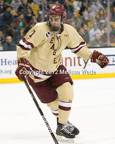 Isaac MacLeod (BC - 7) - The Boston College Eagles defeated the University of Maine Black Bears 4-1 to win the 2012 Hockey East championship on Saturday, March 17, 2012, at TD Garden in Boston, Massachusetts.
