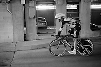 Tony Martin (DEU/Etixx-Quickstep) rolling out in a cooler garage after finishing the TTT<br /> <br /> Elite Men&rsquo;s Team Time Trial<br /> UCI Road World Championships Richmond 2015 / USA
