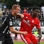 22.09.2019, Donaustadion, Ulm, GER, RL Suedwest, SSV Ulm 1846 Fussball vs 1. FSV Mainz 05 II, <br /> DFL REGULATIONS PROHIBIT ANY USE OF PHOTOGRAPHS AS IMAGE SEQUENCES AND/OR QUASI-VIDEO, <br /> im Bild Steffen Kienle (Ulm, #23), Michael Akoto (Mainz, #5)<br /> <br /> Foto © nordphoto / Hafner