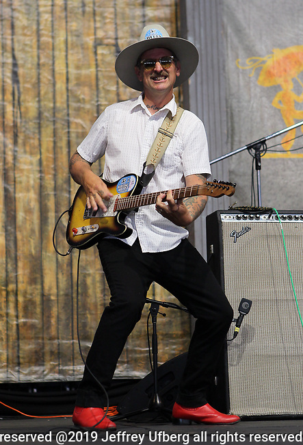 May 2, 2019 New Orleans,La. Singer/Musician Eric Lindell performs in the Blues Tent at the 50th Anniversary of the New Orleans Jazz & Heritage Festival May 2, 2019 New Orleans , La
