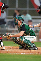 Dartmouth Big Green catcher Bennett McCaskill (18) awaits the pitch during a game against the Northeastern Huskies on March 3, 2018 at North Charlotte Regional Park in Port Charlotte, Florida.  Northeastern defeated Dartmouth 10-8.  (Mike Janes/Four Seam Images)