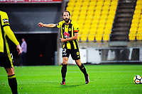 Phoenix's Andrew Durante makes a point during the A-League football match between Wellington Phoenix and Melbourne Victory at Westpac Stadium in Wellington, New Zealand on Friday, 10 January 2018. Photo: Dave Lintott / lintottphoto.co.nz