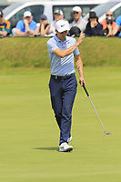 Ross Fisher (ENG) sinks his birdie putt on the 4th green during Thursday's Round 1 of the Dubai Duty Free Irish Open 2019, held at Lahinch Golf Club, Lahinch, Ireland. 4th July 2019.<br /> Picture: Eoin Clarke | Golffile<br /> <br /> <br /> All photos usage must carry mandatory copyright credit (© Golffile | Eoin Clarke)