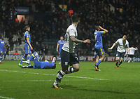 Preston North End's Sean Maguire celebrates scoring his sides second goal  asLeeds United's Pontus Jansson lies injured<br /> <br /> Photographer Mick Walker/CameraSport<br /> <br /> The EFL Sky Bet Championship - Preston North End v Leeds United - Tuesday 10th April 2018 - Deepdale Stadium - Preston<br /> <br /> World Copyright &copy; 2018 CameraSport. All rights reserved. 43 Linden Ave. Countesthorpe. Leicester. England. LE8 5PG - Tel: +44 (0) 116 277 4147 - admin@camerasport.com - www.camerasport.com