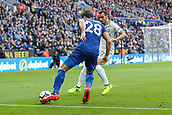 9th September 2017, King Power Stadium, Leicester, England; EPL Premier League Football, Leicester City versus Chelsea; Christian Fuchs of Leicester City toys to work an angle to cross the ball