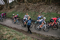 Lauretta Hanson (AUS/Trek-Segafredo) catching a bidon<br /> <br /> Omloop van het Hageland 2019<br /> 133km from Tienen to Tielt - Winge (BEL)<br /> <br /> ©JoJo Harper for Kramon