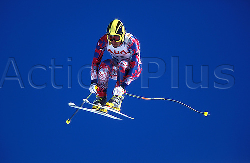 February 1996: View of NILS LINNEBERG (CHI) competing in the Mens Downhill competition during the World Skiing Championships, Sierra Nevada, Spain. Photo: Glyn Kirk/Action plus...skier men snow jump.9602