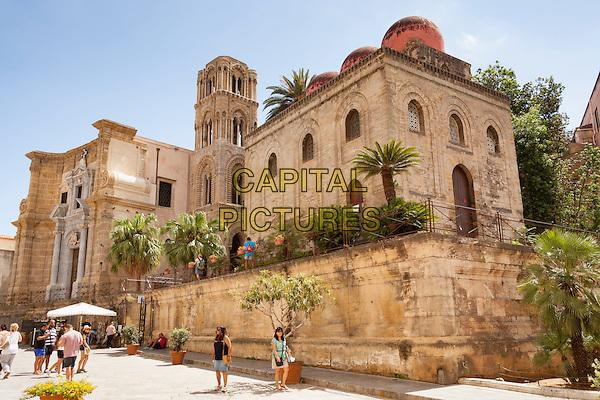 Chiesa La Martorana (Santa Maria Dell Ammiraglio) and Chiesa San Cataldo, Piazza Bellini, Palermo, Sicily, Italy<br /> August 2015<br /> CAP/MEL<br /> &copy;MEL/Capital Pictures