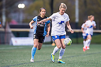 Allston, MA - Saturday, May 07, 2016: Chicago Red Stars forward Jennifer Hoy (2) and Boston Breakers defender Kassey Kallman (5) during a regular season National Women's Soccer League (NWSL) match at Jordan Field.