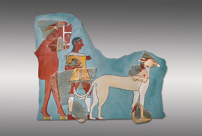Mycenaean Fresco wall painting of a Mycanaean footman leading a horse & hunting dog,  Tiryns, Greece. 14th - 13th Century BC. Athens Archaeological Museum. Cat No 5878.  Grey Background