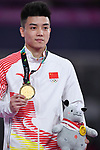 Lin Chaopan (CHN), <br /> AUGUST 20, 2018 - Artistic Gymnastics : Men's Individual All-Around Medal Ceremony at JIEX Kemayoran Hall D during the 2018 Jakarta Palembang Asian Games in Jakarta, Indonesia. <br /> (Photo by MATSUO.K/AFLO SPORT)