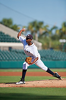 Detroit Tigers pitcher Xavier Javier (25) delivers a pitch during a Florida Instructional League game against the Pittsburgh Pirates on October 6, 2018 at Joker Marchant Stadium in Lakeland, Florida.  (Mike Janes/Four Seam Images)