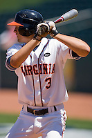 Jarrett Parker #3 of the Virginia Cavaliers at bat against the Boston College Eagles during Game 1 of the 2010 ACC Baseball Tournament at NewBridge Bank Park May 26, 2010, in Greensboro, North Carolina.  Parker's 2-run single in the bottom of the 8th gave the Cavaliers a 6-4 win over the Eagles.  Photo by Brian Westerholt / Four Seam Images