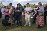 Ebernoe Horn Fair West Sussex UK. Annual cricket match on Ebernoe village Common. The Horns from the lamb roasted for the players lunch are presented to the player from the winning side who scores the most runs. Followed by the singing of the Horn Fair Song.  2015