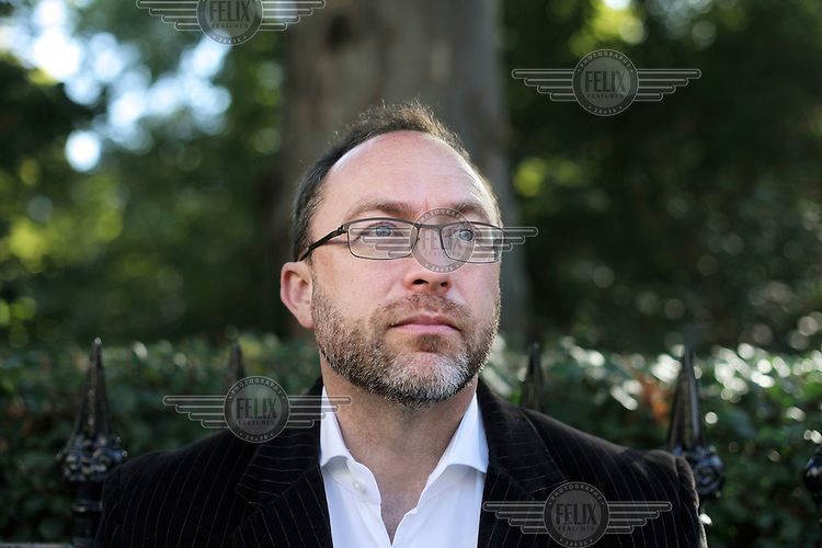 Jimmy Wales, the founder of Wikipedia, in a central London park.