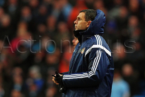 01.01.2015.  Manchester, England. Barclays Premier League. Manchester City versus Sunderland. Sunderland manager Gus Poyet looks on