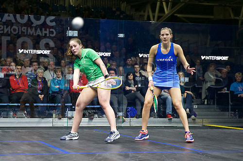 13.02.2016. National Squash Centre, Manchester, England. British National Squash Championships. Tesni Evans and Laura Massaro.