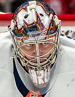 WASHINGTON, DC - JANUARY 31: Semyon Varlamov #40 of the New York Islanders  ready for a face off during a game between New York Islanders and Washington Capitals at Capital One Arena on January 31, 2020 in Washington, DC.