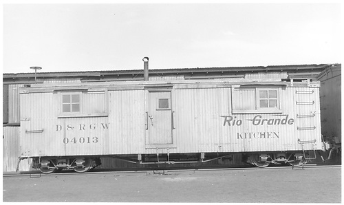 Kitchen car 04013 at Alamosa.<br /> D&amp;RGW  Alamosa, CO  Taken by Maxwell, John W. - 1/18/1946