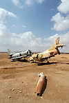 Israel, Wadi Masor in the Arava. The Air Force shooting range, remains of a Kfir and a Skyhawk jets.