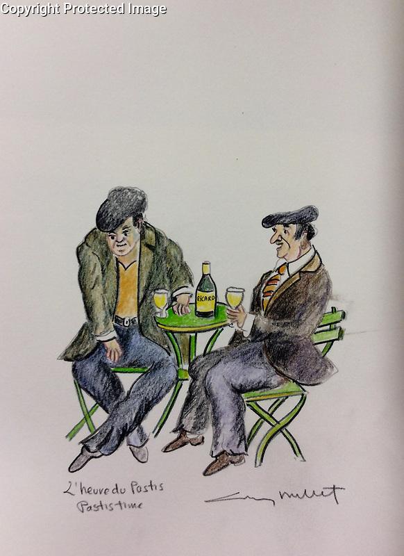 &quot;L'heure du Pastis&quot; (Pastis Time)<br /> ORIGINAL Watercolor on Paper<br /> 12x9<br /> $1500
