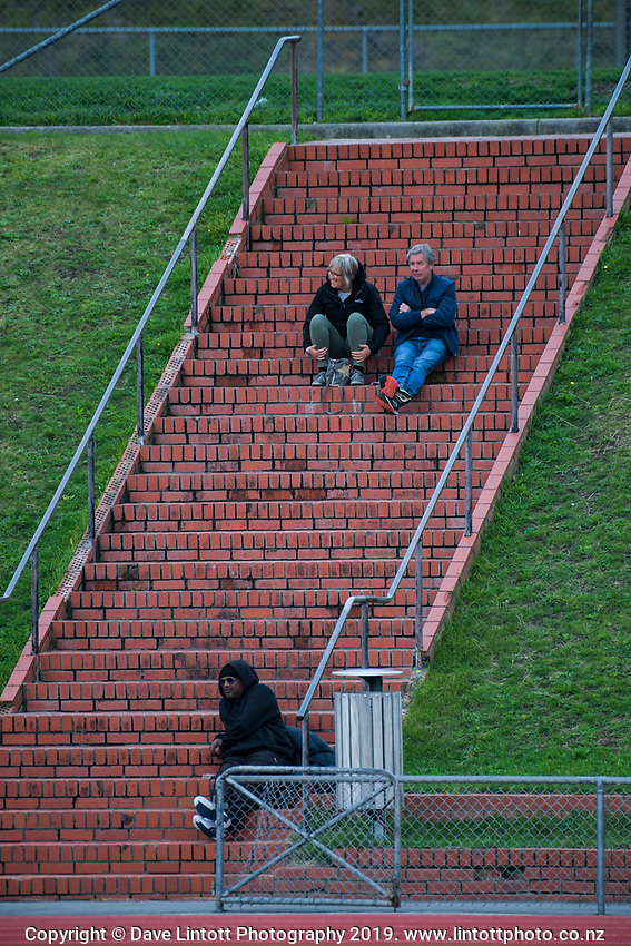 Fans watch the Central League football match between Wellington United and Napier City Rovers at Newtown Park in Wellington, New Zealand on Monday, 22 April 2019. Photo: Dave Lintott / lintottphoto.co.nz