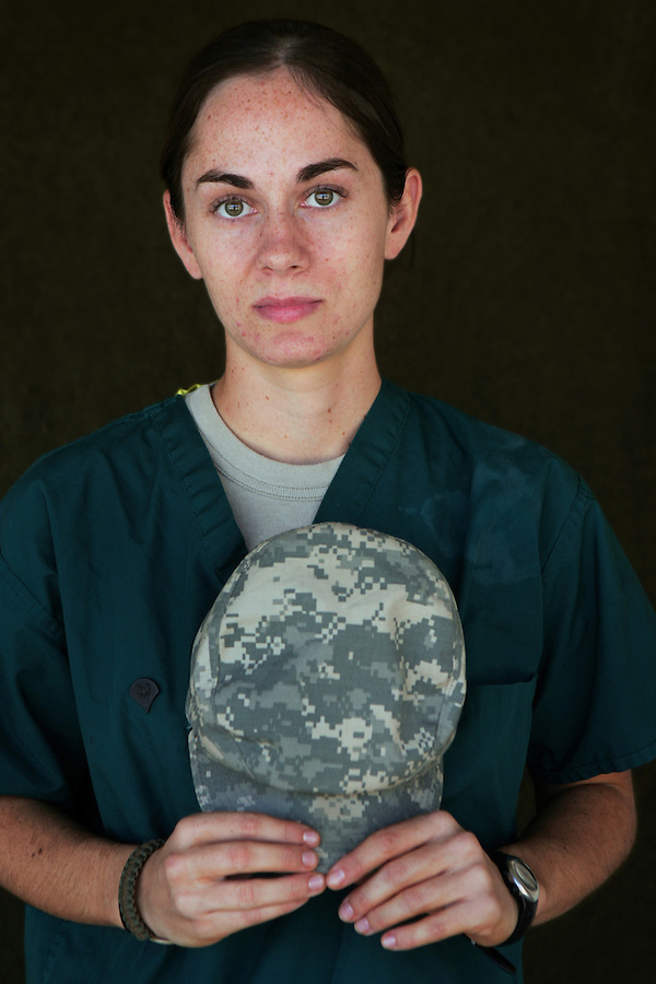 Specialist Angelina Dunn, 20, Brea, California, Medic, Charlie Medical Company 501st Field Support Battalion 1st Brigade 1st Armored Division taken at the company's medical facility at Camp Ramadi, Iraq on Friday Sept. 29, 2006.<br />