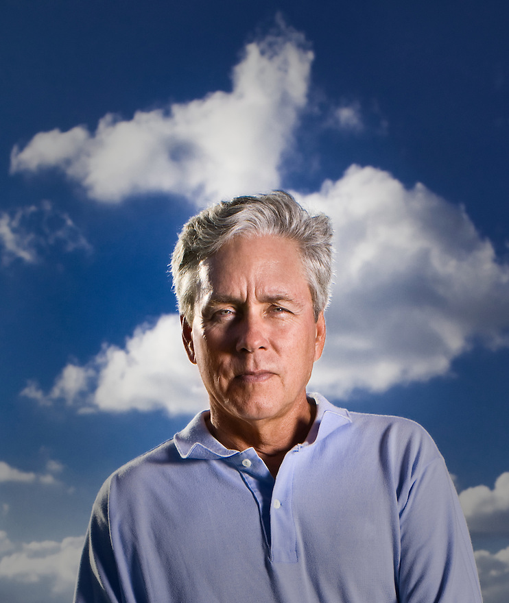 "Author Carl Hiaasen photographed in Vero Beach, Florida, for ""The Downhill Lie"""