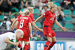 Olympique Lyonnais' Eugenie Le Sommer, Pauline Bremer and Ada Hegerberg celebrate goal during UEFA Women's Champions League 2015/2016 Final match.May 26,2016. (ALTERPHOTOS/Acero)