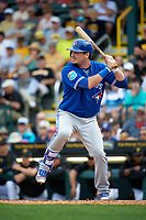 Toronto Blue Jays center fielder Darrell Ceciliani (9) at bat during a Spring Training game against the Pittsburgh Pirates on March 3, 2016 at McKechnie Field in Bradenton, Florida.  Toronto defeated Pittsburgh 10-8.  (Mike Janes/Four Seam Images)