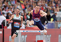 David Kendziera (United States) finishes 3rd in the men's 400m Hurdles during the IAAF Diamond League Athletics Müller Grand Prix Birmingham at Alexander Stadium, Walsall Road, Birmingham on 18 August 2019. Photo by Alan  Stanford.